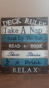 "Perfect Addition for your Deck/Patio!  Wooden sign ""Deck Rules"""