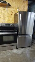 Refrigerateur GE STainless et Cuisiniere Samsung Stainless