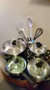 Stainless steel pots and utensils