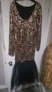 Plus size Black and Gold Sequin Dress