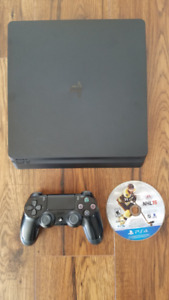 PS4 slim 1Tb with controller, hookups, 1 game