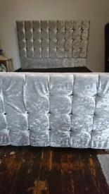 Silver Crushed velvet bed Double new slats