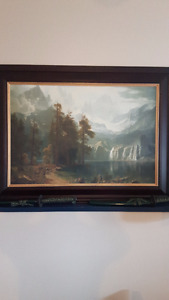 VERY NICE MOUNTAINS WILDLIFE PAINTING OIL CANVAS
