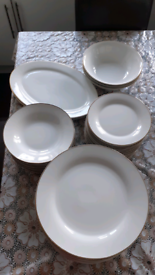 42 pieces 12 Place White Dinner Service with Gold Rim