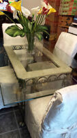 WROUGHT IRON DINING ROOM TABLE W/BEVELED GLASS TOP