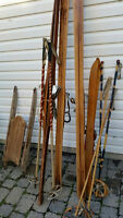 Vintage Skis 1930 & 1940s, 3 pairs with Poles, $60.00 each set