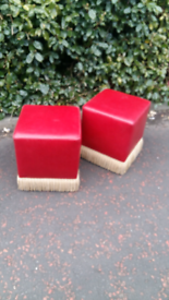 Retro luxury leather red stools