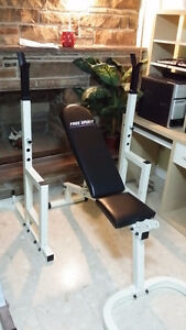 Spirit Squat Rack Bench Press w 150lbs Weights Bar power cage