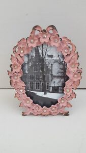 Vintage Style Pink Daisies Freestanding Photo Frame