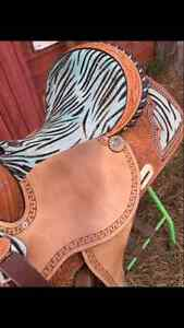 Unique Zebra Print Western Barrel Saddle Moose Jaw Regina Area image 6