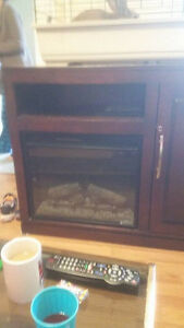 tv stand with fireplace and bar fridge