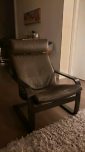 IKEA Brown Leather Poang armchair