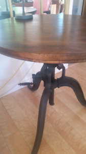 "Round 36"" Mango Wood/Cast Iron Adjustable Bar/Kitchen Table"