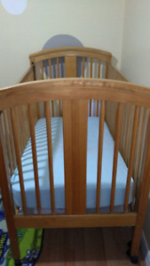 Oak crib with mattress
