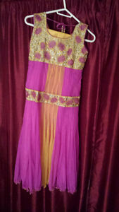 Pink and Yellow Indian dress for Charity