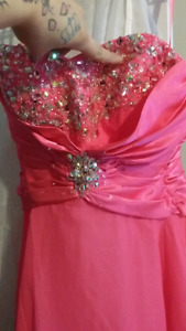 Size 8-Pink strapless corsette prom dress
