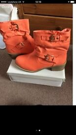 Size 3 coral boots