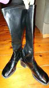 Black fitted high boots - 7.5 (fit like an 8)