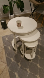 French Antique Nesting Tables, distressed white finish