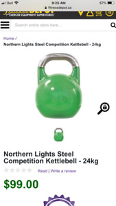 2x24kg green competition kettlebells.