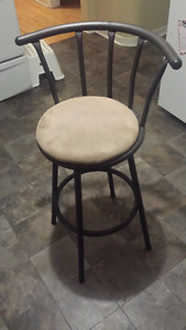 Single Bar Stool With Suede Seat