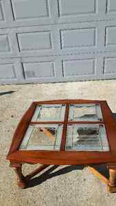 WOOD SQUARE COFFEE TABLE WITH 4 GLASS INSERTS