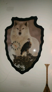Wolf & Eagle Graphic Clock