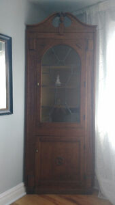1930s Hand Crafted Solid Oak Corner Cabinet with Leaded Glass