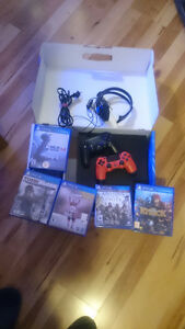 PS4 500 GB Black Console with Two Controllers 5 Games and Headse