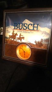 Vintage Busch Lighted sign with clock.