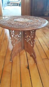 solid wood, carved table