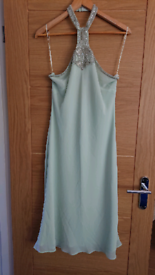 Green chiffon dress with beaded neck detail - size 14