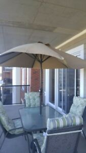 Outside Patio & Chair Set with Cushion.  Unbrella with stand!