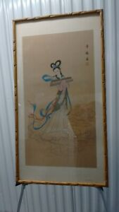 Old Chinese Water Color Painting on Silk,Fairy Maiden,Framed