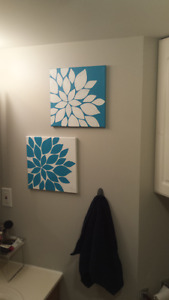 Two panel abstract flowers