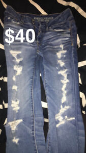 American Eagle ripped cropped jeans