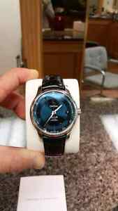 Omega DeVille Blue Black Leather watch