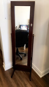 JEWELRY BOX/MIRROR, CHAIR, SMALL FILING CABINET , GOOD CONDITION