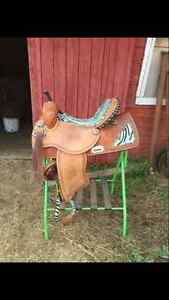 Unique Zebra Print Western Barrel Saddle Moose Jaw Regina Area image 3