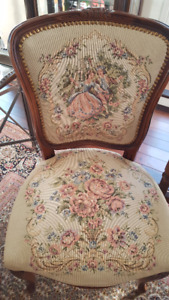 French Provincial Country Carved Wood Tapestry Chairs