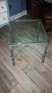 Glass top and rod iron side table