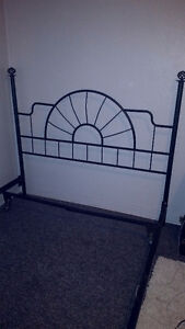 Queen bed frame and headboard and split boxspring