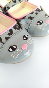 Gray Kitty Cat/Leopard Dress Shoes, Gap, Toddler Girl, Size 8
