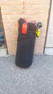 100 lb punching bag and gloves.