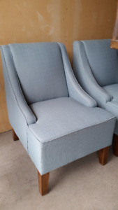 Pale Blue Upholstered Arm Chair