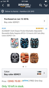 6 Almost New Cloth Diapers for boys