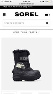 Size 4 Sorel Boots - black (6-12m) BRAND NEW