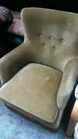 Vintage retro Danish antique green velvet art deco armchair 60s chair