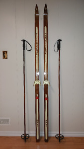 Vintage Finish Cross Country Skis and Poles