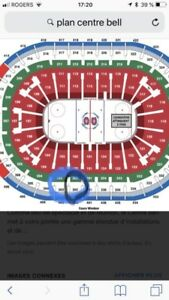 Billets ticket 302 A et 303 A central CANADIENS MONTREAL WOW